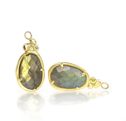 labradorite pebble drops with peridot