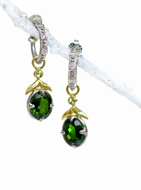 chrome diopside and peridot winged leaf drops on beaded diamond palladium hoops