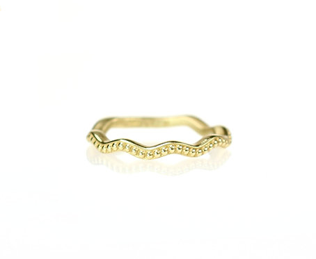 wavy beaded band in 18kt yellow  (made to order)