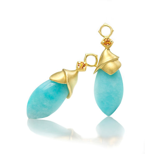 amazonite wrapped drops in 18kt with orange sapphires