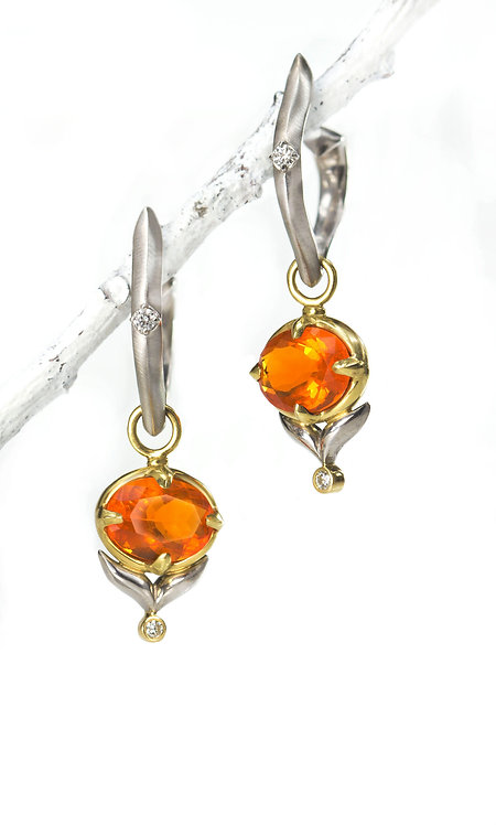 fire opal winged leaf drops on antique pointed hoops