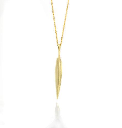 18kt long leaf pendant
