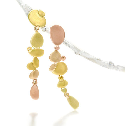 cascading ombre beach pebble earrings with natural color diamonds