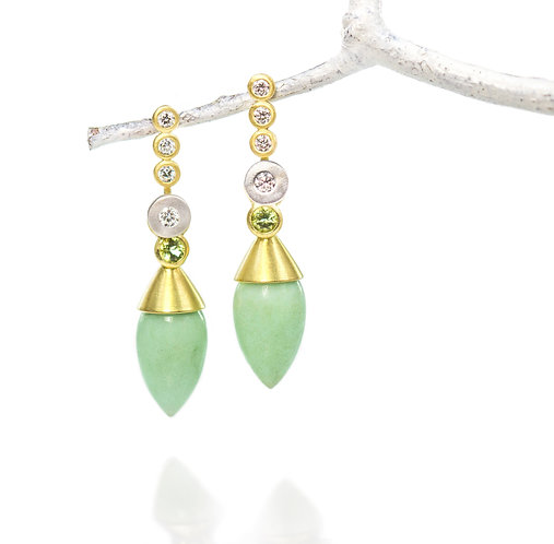 18kt triple diamond studs with platinum diamond pebbles with chrysoprase drops
