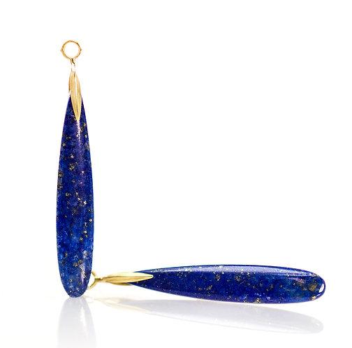 long lapis slender blade drops in 18kt