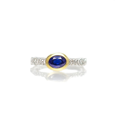 sapphire and diamond radiance ring in platinum and 18kt gold