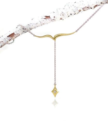 fly with starlight necklace in white and yellow