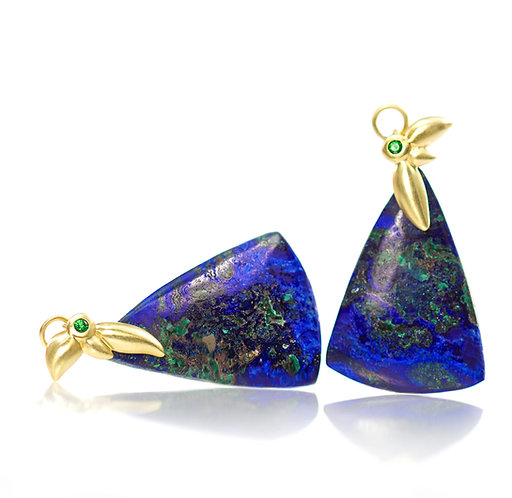 18kt azurite leaf drops with tsavorites
