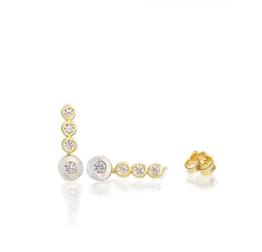 18kt triple diamond studs with platinum diamond pebbles  (for order)