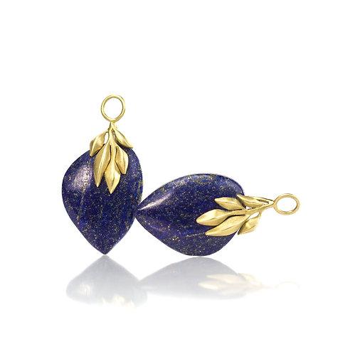 lapis leaf earring drops