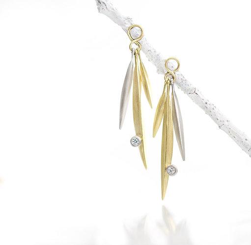 18kt triple beach grass blade drops with diamonds