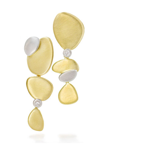 platinum and gold pebble earrings with diamonds (MADE TO ORDER)