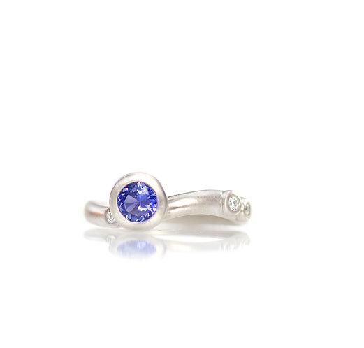 blue sapphire and diamond random sparkles ring in palladiium