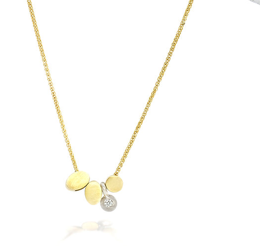 18k reflection necklace with single diamond in a 14kt white pebble