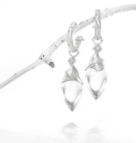 crystal quartz diamond wrapped drops on platinum square hoops