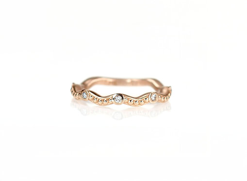 wavy beaded band with diamonds in rose gold (made to order)