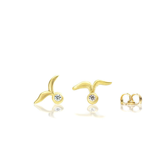 18kt small ~fly~ diamond stud earrings