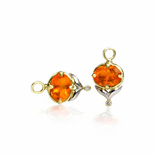 fire opal winged leaf drops with diamonds