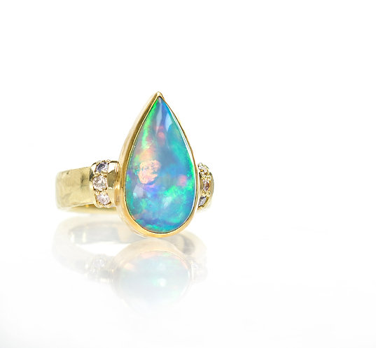 Ethiopian opal ring with natural color diamonds