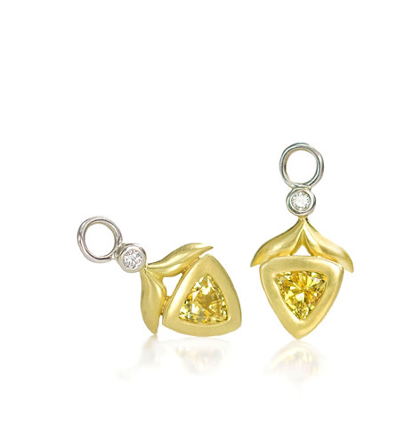 yellow sapphire and diamond winged leaf drops