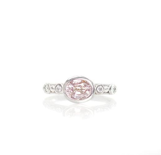 pastel peach sapphire and diamond beaded ring in palladium