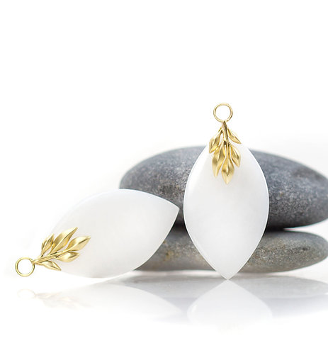 white jade leaf earring drops in 18kt