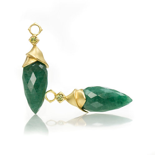 green aventurine wrapped drops with peridot in 18kt