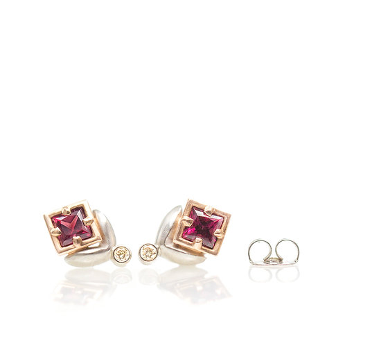 tiny leaf studs with princess rhodolite and champagne diamonds