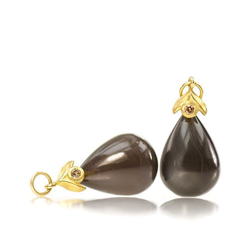 smoky moonstone tiny leaf drops with cognac diamonds