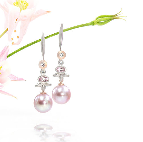 pink pearl triple leaf drops on single blade diamond tops in platinum and rose