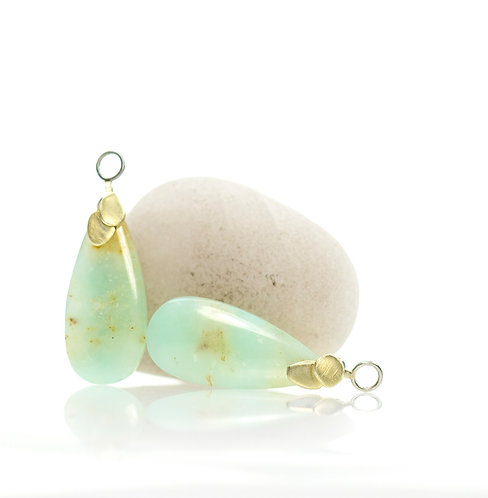 chrysoprase reversible drops in platinum and green gold