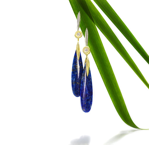 diamond blade earring with lapis slender blade drops