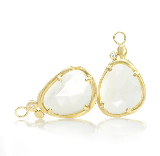 white moonstone pebble drops with diamonds in 18kt
