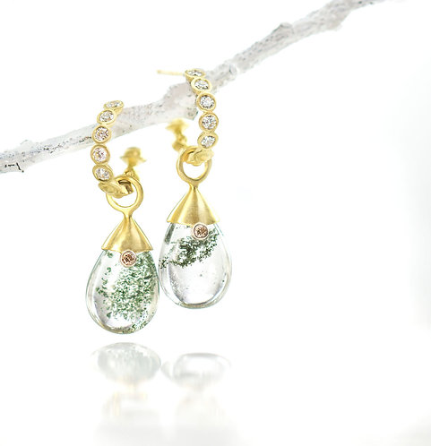 bezel hoops with garden quartz champagne diamond drops