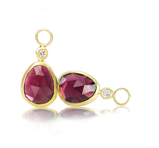 rhodolite garnet pebble drops with diamonds in 18kt