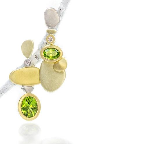 peridot and diamond pebble earrings