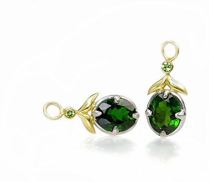 chrome diopside and peridot winged leaf drops