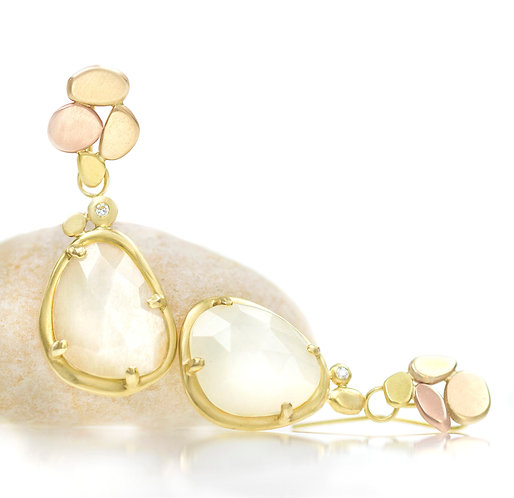 tri color gold pebble tops with white moonstone pebble drops