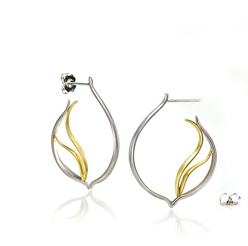 platinum and 18kt beach grass hoops