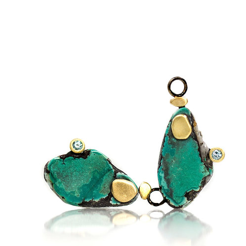 turquoise pebble drops with blue zircons