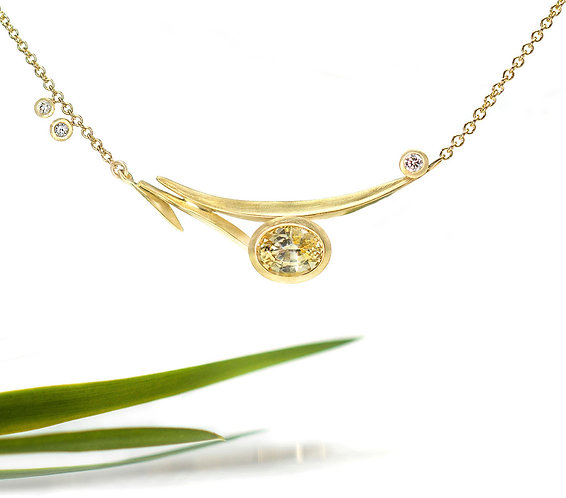 yellow sapphire under the horizon beach grass necklace special price