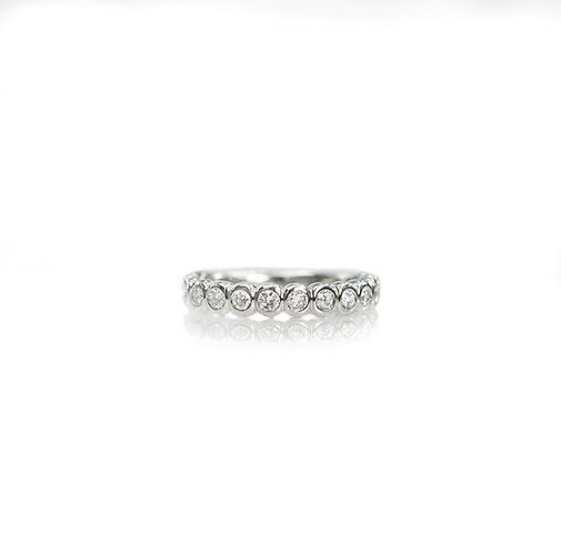 14kt white gold all bezel diamond band  (made to order)