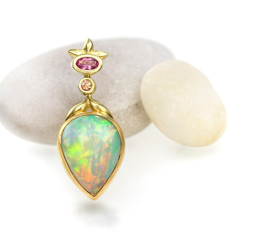 Ethiopian opal pink spinel and orange sapphire pendant