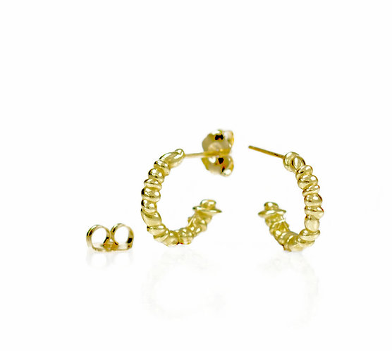 beach pebble hoops in 18kt yellow  (made to order)