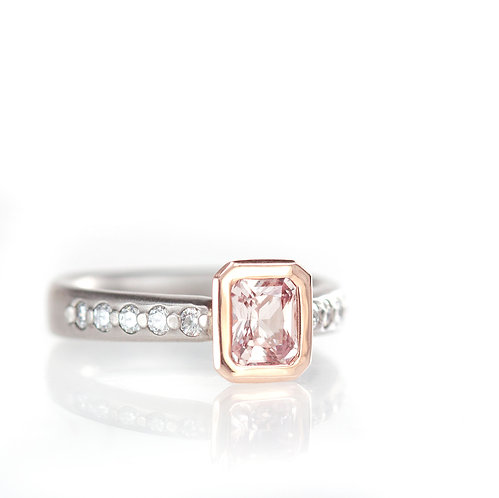 radiant pink sapphire and diamond ring in rose and palladium