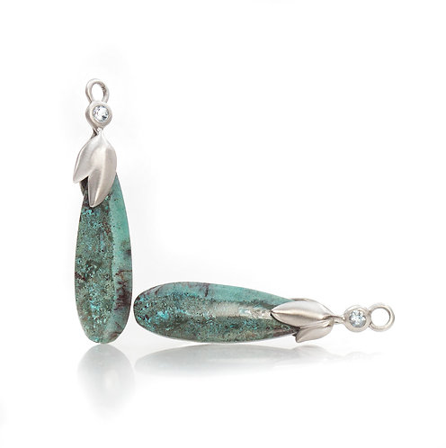 swayed leaf chrysocolla drops with aquamarines in palladium