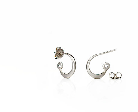 star and moon hoops in platinum