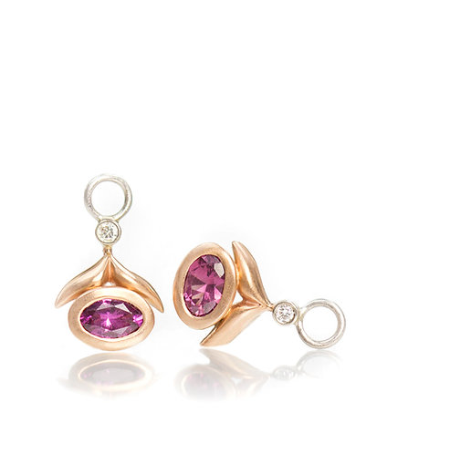 pink spinel winged leaf drops with diamonds in 14 rose and white