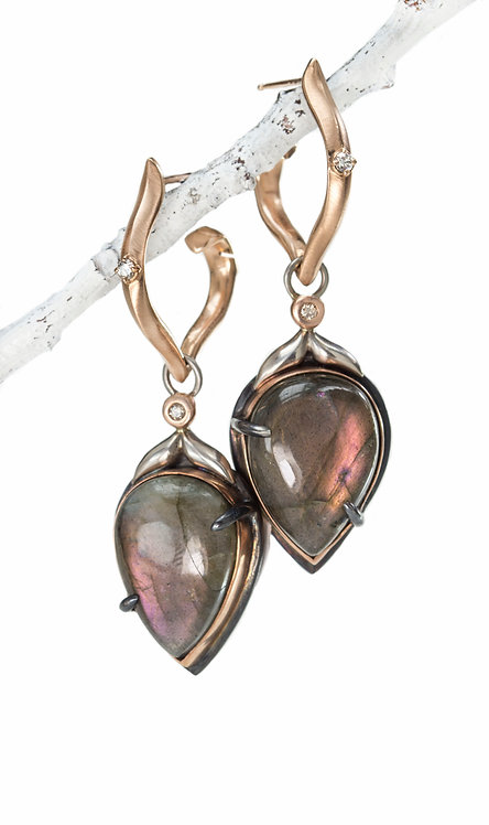labradorite pear shaped winged leaf drops on antique pointed hoops in rose