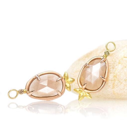 chocolate moonstone pebble drops with champagne diamonds